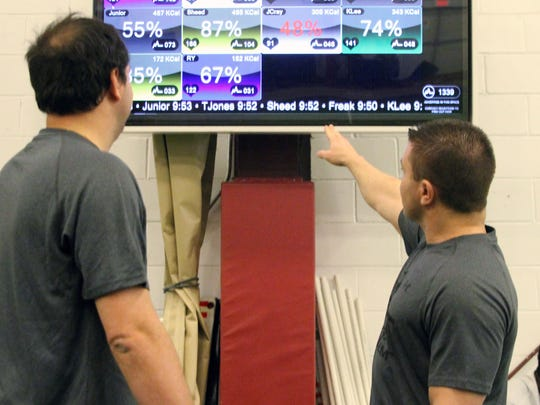 Our Rutgers football writer Ryan Dunleavy checks his heart rate and calories burned during a day of training at TEST Football Academy.