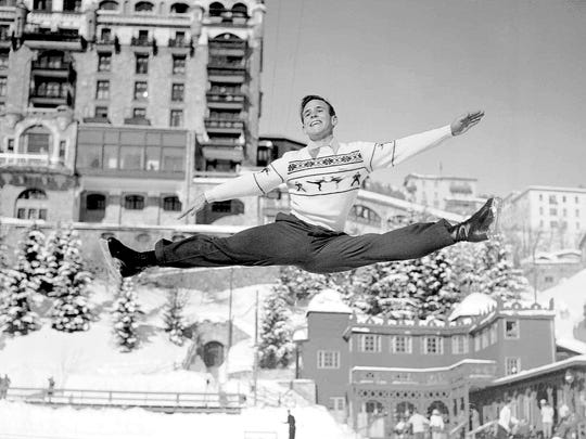 Richard Button of Englewood, N.J. who represented the United States in the men's figure skating competition at the Winter Olympics at St. Moritz, Switzerland in 1948, makes a sensational leap during practice there, Jan. 27, 1948. Button won the European figure skating for men in competition at Prague, Czechoslovakia.  (AP Photo)