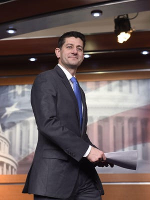Speaker of the House Paul Ryan arrives to announce his retirement during a press conference on Capitol Hill in Washington.