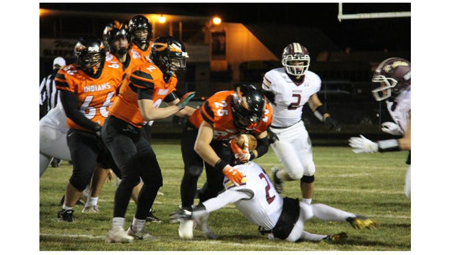 Arian Saenz (25) led the Indians with 57 rushing yards against the Wabasso Rabbits on Friday, Oct. 3 at home.