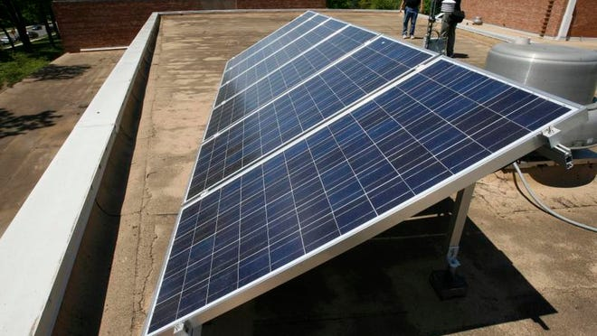 The solar panels that will be used by Merrill Middle school.