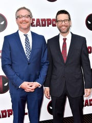 "Screenwriters Paul Wernick (left) and Rhett Reese attend a ""Deadpool 2"" screening on May 14, 2018, in New York City."