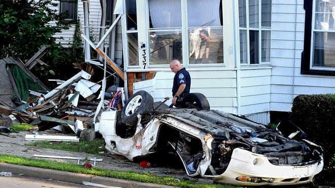 A single vehicle accident Friday on the eastbound arterial near North White Street in the City of Poughkeepsie destroyed one car and caused damage to four houses. The driver was charged with misdemeanor driving while intoxicated.