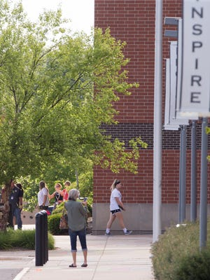 The first day back at Noblesville West Middle School, following Friday's shooting by a student that left a teacher and a student injured, Noblesville, Wednesday, May 30, 2018. The shooter is in custory after the school shooting.