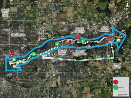 The proposed Loop the Locks trail would connect Appleton, Combined Locks, Kaukauna, Kimberly and Little Chute.
