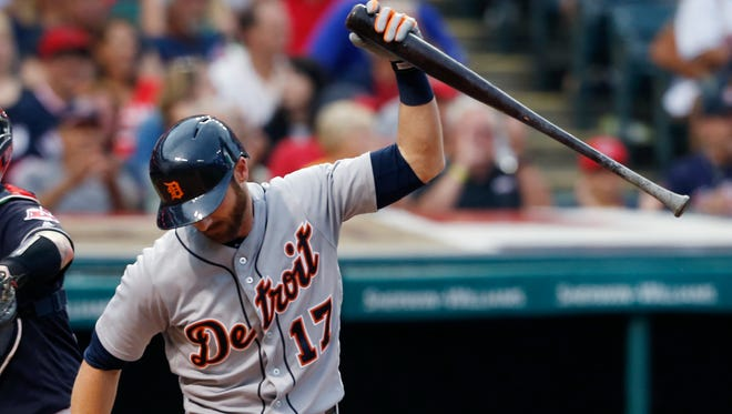 Tigers' Andrew Romine reacts after striking out in the seventh inning.
