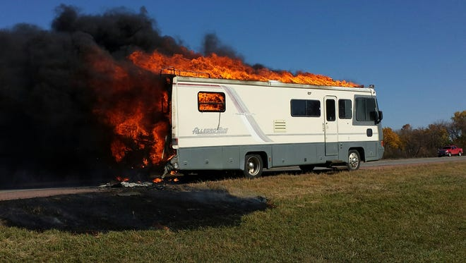 A motor home erupted in flames on Interstate 90 near Alexandria on Tuesday afternoon. Nobody was injured.