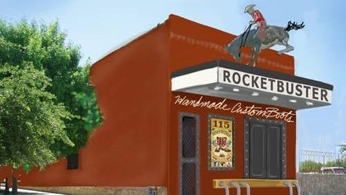 A conceptual drawing of the planned new facade for Rocketbuster Boots shop at 115 S. Anthony in the Union Plaza District Downtown.