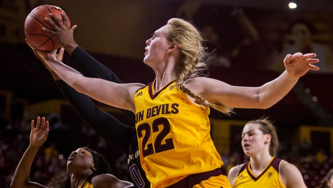 Arizona State's Quinn Dornstauder rebounds against Washington in the second quarter on Sunday, Feb. 21, 2016 at Wells Fargo Arena in Tempe, Ariz.
