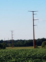 This photo shows an under-utilized monopole line constructed