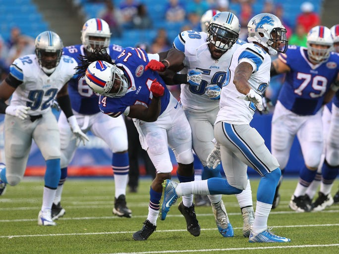 Buffalo Bills wide receiver Sammy Watkins is hit by Detroit Lions outside linebacker Ashlee Palmer during the first half Thursday's preseason game in Orchard Park. Watkins left the game with an apparent rib injury.