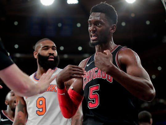 Chicago Bulls forward Bobby Portis (5) reacts to a call by the referee during the fourth quarter of an NBA basketball game, Monday, March 19, 2018, in New York. The Bulls won 110-92. (AP Photo/Julie Jacobson)