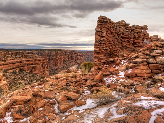 Snow-covered remnants of an Anasazi tower ruin on the
