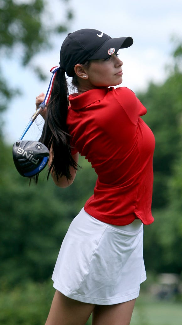 Amanda Tully of Carmel tees off on the 16th hole during