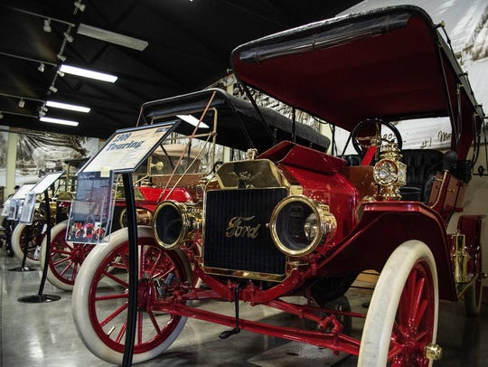 A 1909 Model T Touring is seen inside the Model T Museum