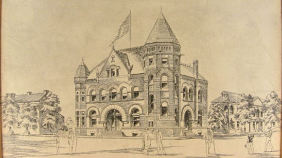 Image of an original 1890s architectural drawing for the new Federal Building for York