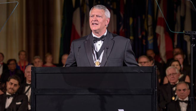 Dr. David Barbe, Mercy physician from Mountain Grove, Missouri, speaks to the American Medical Association House of Delegates after being inaugurated as the organization's new president.