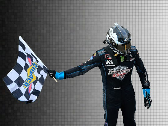 Kyle Busch celebrates one of his 94 Xfinity Series