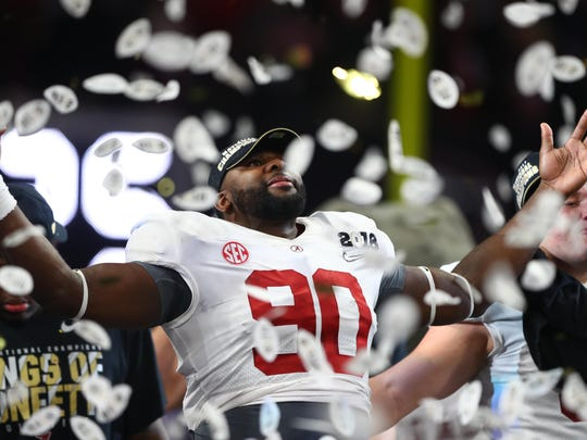 Alabama defensive lineman Jamar King celebrates after the Crimson Tide's win over Georgia in January's championship game in Atlanta. Mandatory Credit: Mark J. Rebilas-USA TODAY Sports