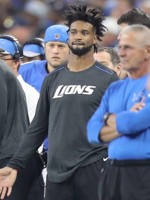 Lions cornerback Darius Slay watches action against the Washington Redskins on Sunday, Oct. 23, 2016 at Ford Field. Slay suffered a hamstring injury in the first half.