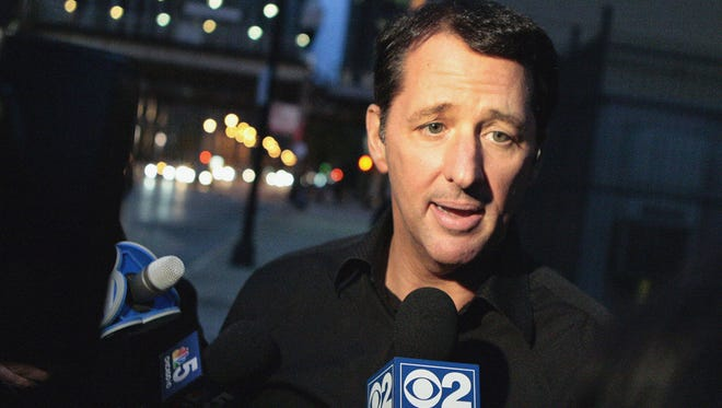 n this Oct. 28, 2013 file photo, television infomercial pitchman Kevin Trudeau speaks to the media after leaving the Metropolitan Correctional Center in downtown Chicago. On Monday, March 17, 2014, a federal judge in Chicago sentenced Trudeau to 10 years in prison for bilking consumers via infomercials for his best-selling weight loss book.