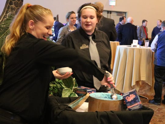 Toft's Lake Erie Cookie Island Monster ice cream is served up at Lake Erie Shores and Islands third annual State of Tourism Address at the Kalahari Resorts and Convention Center in Sandusky on Thursday.
