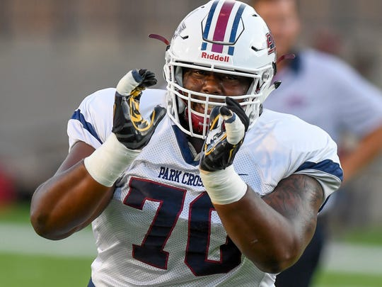 Park Crossing's Tank Jenkins (70) at Cramton Bowl in Montgomery, Ala., on Friday September 1, 2017.