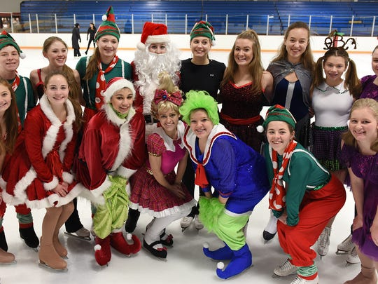 """The cast of """"Grinchie on Ice"""" includes skaters, ages 7-17. This group represents some of the  performers in high school."""
