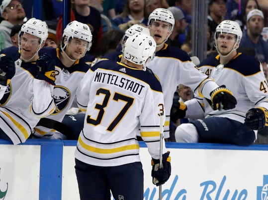 Buffalo Sabres center Casey Mittelstadt (37) celebrates with the bench after his goal against the Tampa Bay Lightning during the first period of an NHL hockey game Friday, April 6, 2018, in Tampa, Fla. (AP Photo/Chris O'Meara)