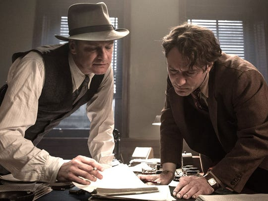 """It's not easy to discern who the real """"Genius"""" is when editor Maxwell Perkins (Colin Firth) works to slice Thomas Wolfe's (Jude Law) thousands pages long novel to a reasonable size."""