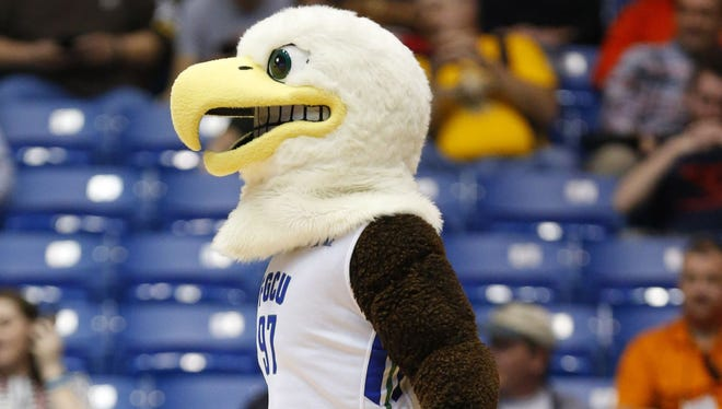 Mar 15, 2016: Azul the Eagle, Florida Gulf Coast University's mascot, patrols the court during the first half against Fairleigh Dickinson in First Four of the NCAA men's college basketball tournament at Dayton Arena.