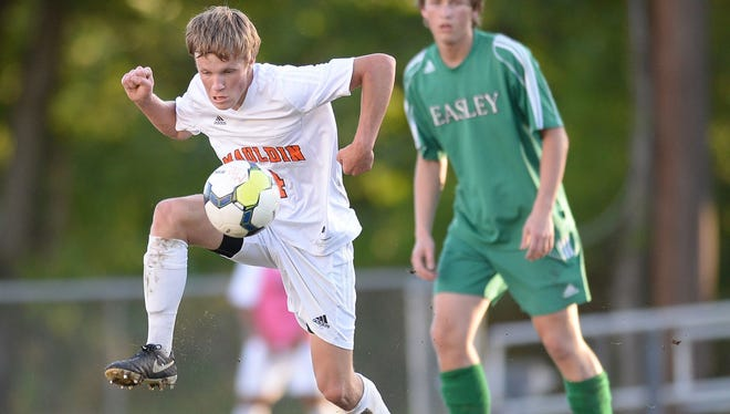 Jared Gulden, left, was one of five Mauldin boys and girls chosen to play in all-star soccer games this summer.