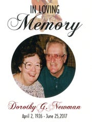 Funeral card of Dorothy and Clifford Newman. The couple's