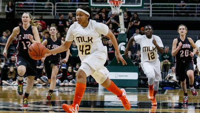 Detroit King's Erica Whitely-Jackson scored 10 points in the MHSAA girls basketball Class A semifinal against St. Johns at the Breslin Center in East Lansing on Friday, March 18, 2016.