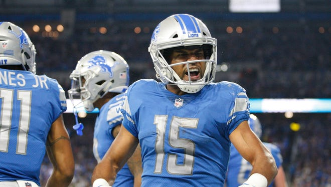 Sept. 10, 2017: Lions receiver Golden Tate celebrates a touchdown by Kenny Golladay in the fourth quarter against the Cardinals at Ford Field.