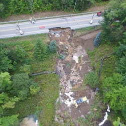 Collapsed pavement on U.S. 31 has created a 12-mile detour in northern Michigan about 25 miles south of the Mackinac Bridge.