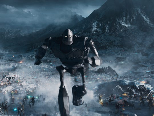 """The Iron Giant leads warriors into the battle in """"Ready Player One."""""""