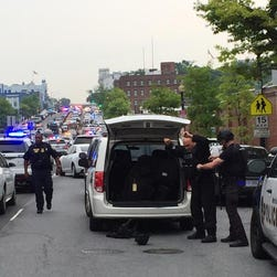 Scene of response of reported shooting outside of the Navy Yard.