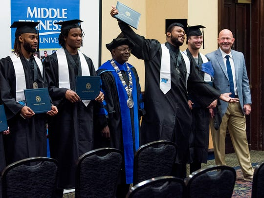 Senior members of the Middle Tennessee State football team are given a graduation ceremony at the team hotel in Montgomery, Ala. on Friday December 15, 2017.
