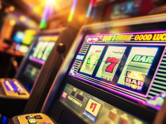Slot machines at a Las Vegas casino.