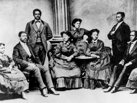 The nine original members who formed the Jubilee Singers