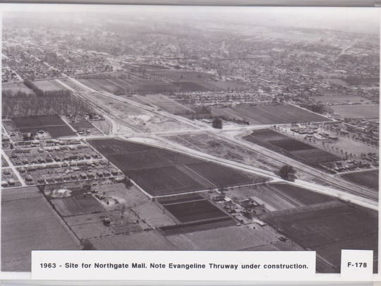 Evangeline Thruway in Lafayette, LA, is shown during construction in this 1963 photo.