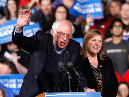 Sen. Bernie Sanders with his wife, Jane Sanders, at