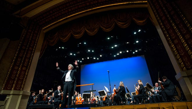 Montgomery Symphony Orchestra conductor Thomas Hines during the MSO's Children's Concert at the Davis Theatre in Montgomery, Ala., on Thursday March 30, 2017.