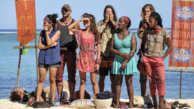 "From left, Aubry Bracco, Brad Culpepper, Hali Ford, Troyzan Robertson, Cirie Fields, Sierra Dawn-Thomas and Michaela Bradshaw on the eighth and ninth episode of ""Survivor: Game Changers."""