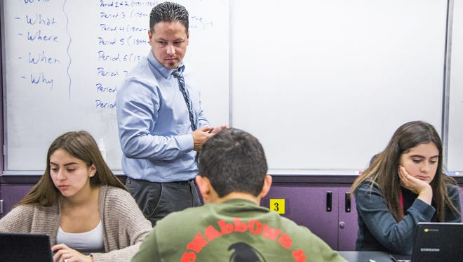 After six years in the Yuma Union High School District without a raise, Rene Castillo, 34, began to look elsewhere and found that with a one-hour commute he could double his pay, to nearly $80,000 by teaching at Southwest High School in El Centro, California