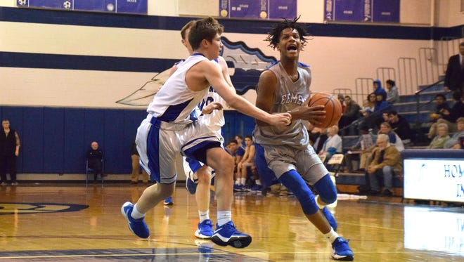 Robert E. Lee's Kyiam Brown, right, drives past Fort Defiance's Joshua Jones during the first half of their nondistrict junior varsity boys basketball game on Thursday, Jan. 18, 2018, at Fort Defiance High School in Fort Defiance, Va.
