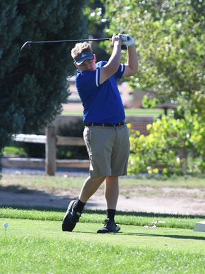 Swallows Charter Academy junior Cody Talbert tees off on the 11th hole at Desert Hawk Golf Course during the Spartans Invite on Sept. 4 in Pueblo West.