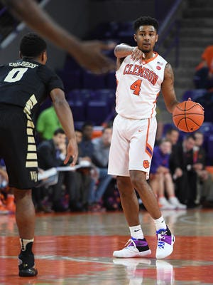 Clemson guard Shelton Mitchell (4) plays against Wake Forest earlier this year at Littlejohn Coliseum.
