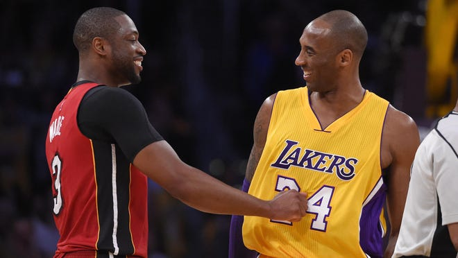 The Heat's Dwyane Wade, left, and the Lakers Kobe Bryant greet each other prior to an NBA game in Los Angeles in 2016.